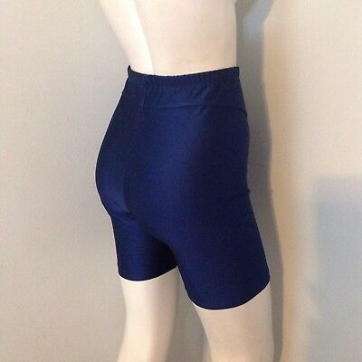 Vintage Dark Navy Blue Shiny Spandex Workout Shorts L Might Run Small