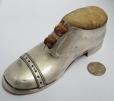 Fine Large English Antique 1915 Sterling Silver Novelty Shoe Sewing Pin Cushion