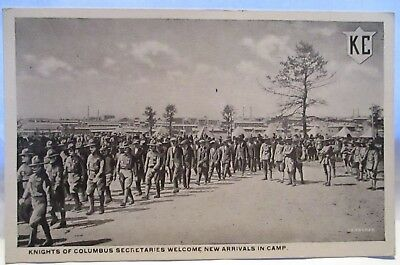 Wwi Postcard K C Logo Knights Of Columbus Secretaries Welcome New Arrivals Camp