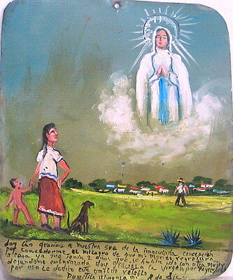 Mexican Exvoto to Immaculate Conception by Wife whose Estranged Husband Returns
