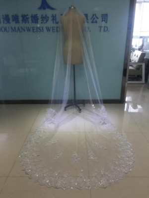 Bling Rhinestone 1T ivory/white Cathedral Bridal Wedding Veil Crystals+Comb