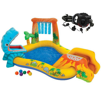 Intex Dinosaur Play Center Inflatable Kids Set & Swimming Pool w/ Electric Pump