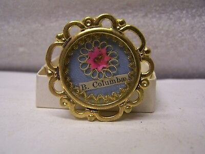 Vintage Religious reliquary relic, B. Columbae With Seal & Strings Gold Tone
