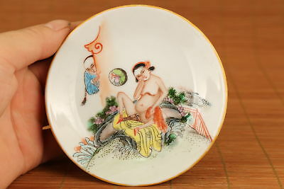 Rare Art Chinese Porcelain Handmade Painting great belle plate home decoration