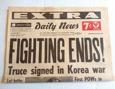 End Of The Korean War - July 27, 1953 - LOS ANGELES EXTRA Newspaper - 5 Pages!