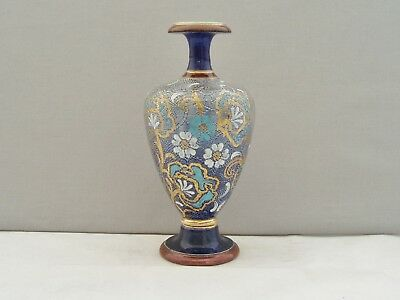 Royal Doulton Lambeth Slater's Patent Vase - Blue, White & Gold