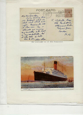 1930 RMS Franconia Pair of cards, one with Belfast Paquebot