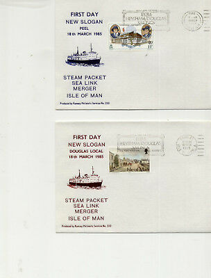 Isle of Man 1986 Set of 6 Covers for Steam Packet Slogan, Different Post Offices