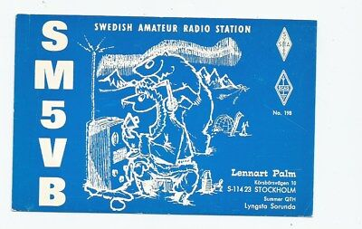 Nice used QSL Radio card from Stockholm Sweden