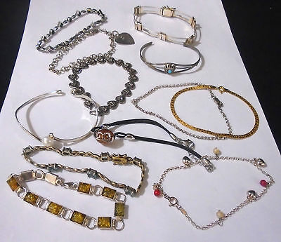 Lot Of 12 Assorted Sterling Silver Bracelets. 85.4 Grams Total Weight. (430)