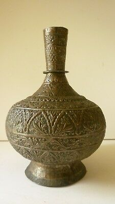 Indian Islamic bronze Huqqa Base decorated w/ multi Floral Borders, 19th Century