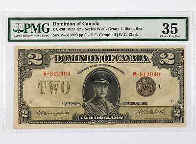 1923 $2 Dominion of Canada Banknote - PMG 35 Choice Very Fine - DC-261