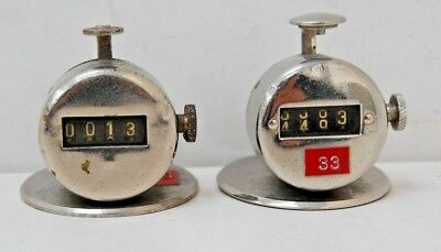 Two Original Vintage Chrome P.O Mechanical Tally Counters - Unknown Maker