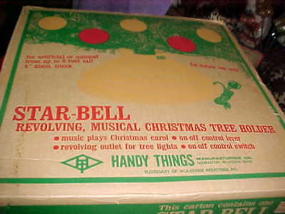 BOXED 60's STAR BELL MUSICAL ROTATING CHRISTMAS TREE STAND WORKS JC PENNEYS