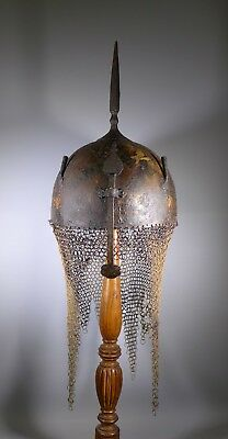 Fine Rare Antique Indo Persian Painted Khula Khud Helmet Armour Islamic