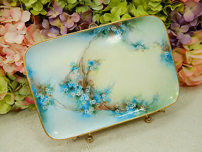 Beautiful Vintage Limoges Porcelain Tray Hand Painted Blue Flowers Artist Signed