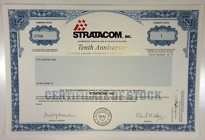 Stratacom, Inc. 10th Anniv Cert. 1987 Proof Stock Cert XF SC-USBN  ATM Pioneer
