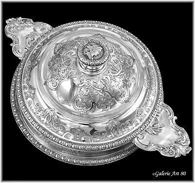 FRAY : Antique French Sterling Silver Regency style Ecuelle Tureen & Stand 3pc