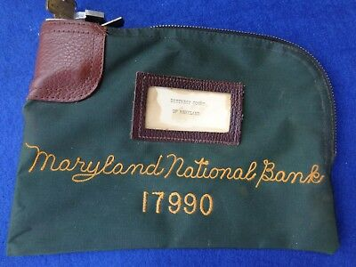 Vintage Bank bag w/key Maryland National Bank used by the District Court