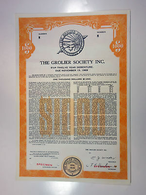 NY. Grolier Society, Inc 1957 Specimen $1000 5.75% Coupon Bond XF SBN Publishing