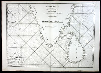 1775 Ceylon Sri Lanka India sea map Karte Mannevillette Neptune Oriental