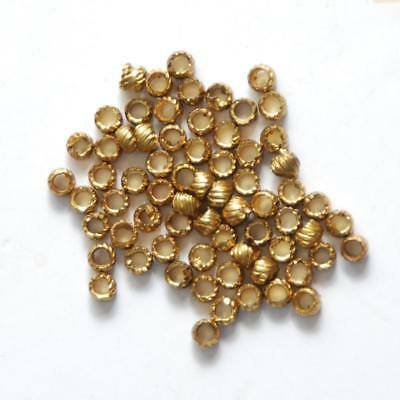 Approx. 60-65 RARE ANTIQUE French Torse Brass Beads_Gold Wash_5 Gram Bag_2 x 3mm