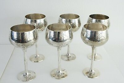 Set of 6 Large Silver Plated Goblets Engraved Decoration Stamp Marked to Bases