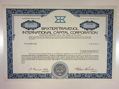 Baxter/Travenol International Capital 1971 Specimen Stock Cert IPO Pharma/med