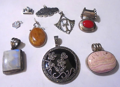 Lot Of 12 Sterling Silver Assorted Pendants. 65.0 Grams Total Weight. (430)