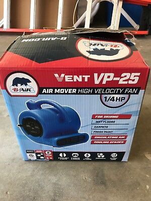 B-Air VENT VP-25 1/4 HP 900 CFM Compact Air Mover Carpet Dryer Floor Fan