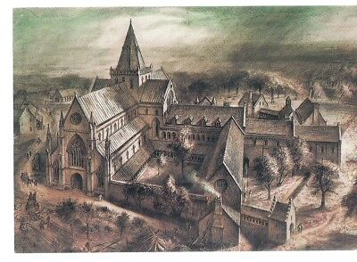 DRYBURGH ABBEY, BERWICKSHIRE unused vintage postcard drawing by Alan Sorrell