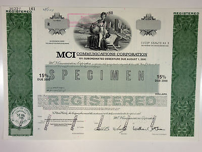 MCI Communications Corp 1980 Specimen Registered $-Odd Bond 15% XF ABN Green