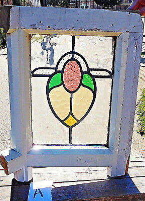 21x17 Old Vtg Art Nouveau Stained Glass Window Solid Wood Antique Gold Lilac