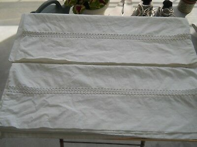 Pair Of Vintage White Cotton Pillow Cases With Tatting