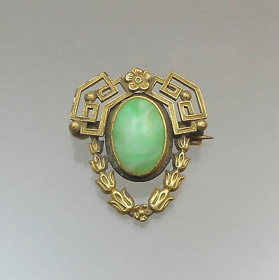 Antique Victorian Edwardian Gold Tone Pin Brooch Green Glass Faux Jade Signed PS