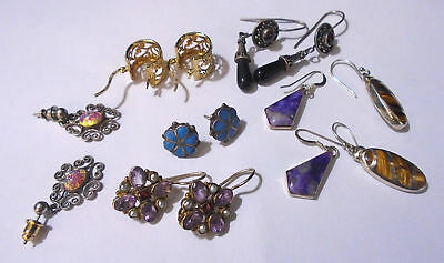 Lot Of 7 Sterling Silver Earrings. 28.6 Grams Total Weight. TESTED.  (430)