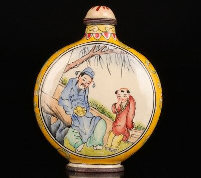 Qianlong Years Antique Cloisonne Snuff Bottle Old Handmade Rare Poet Children