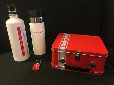 Tesla Gift Bundle: Bottles, Lunch Box and Keychain -- Rare Items