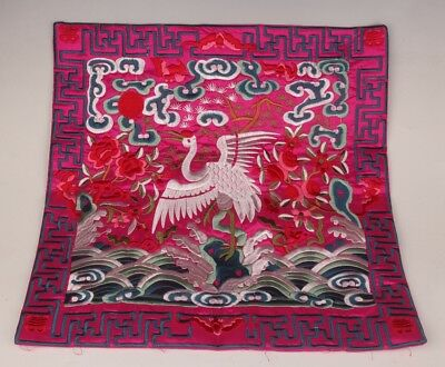 Rare Chinese Embroidered Silk Fabric Pillowcase Decorated Crane Flowers