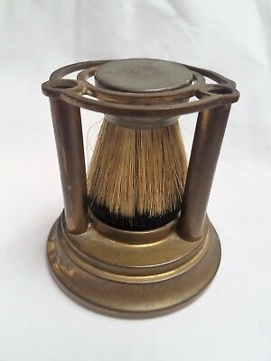 Vintage Brass Shaving Brush And Brass Stand Badger Hair Horse Hair Grooming Set