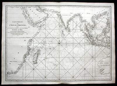 1775 Indian Ocean Australia Philippines China sea map Karte Mannevillette