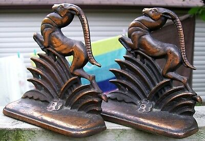 Art Deco Cast Iron Figural Leaping Gazelle Sringbok Deer Bronzed Bookends C.1930