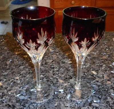 Dorotheenhutte W. Germany Pair (2) Bohemian Ruby Cut to Clear Wine Glasses