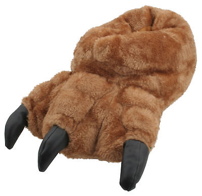 Slumberzzz Mens Novelty Plush Monster Claw Slippers Brown