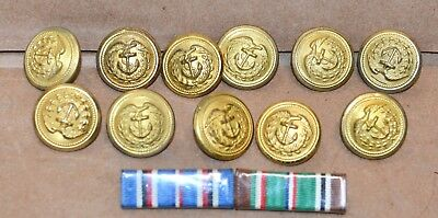 11 Coast Guard Uniform Buttons and 2 Ribbons 1943