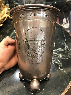 Antique German .800 Silver Circa 20Th Century Niello Large Trophy Cup