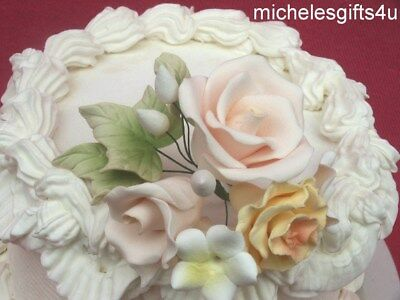Sugar Gum Paste Cream Roses Yellow Carnation Stephanotis Cake Decorating Flowers