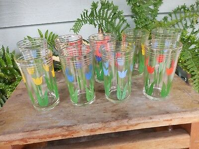 "9 Vintage Kraft Swanky Swig Set Juice Glasses 4"" Tulip #3 Blue Yellow Red"