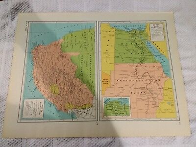 1944 Map of Egypt & The Nile Valley & Union of South Africa  - Australia On Back