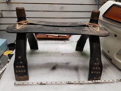 Vintage Camel Back Saddle Seat Footstool Bench Antique Egyptian Brass Wood Colle